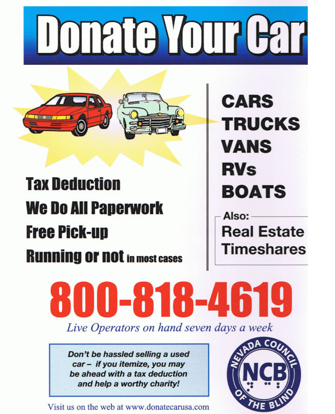 Donate your vehicle. Click here to go to donatecarusa.com